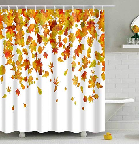"""Romantic Autumn The Fall of Maple Leaves Shower Curtains, Waterproof Fabric Bathroom Decor Set with Hooks 72"""" x 72"""" (Maple Leaves)"""