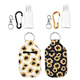 2 PCS Hand Sanitizer Holder Keychain for Christmas Gifts, Travel Bottle Holder Refillable Containers for Soap, Lotion, and Liquids with 2 Key Ring, 2 Carabiner Clip, 30 ML Flip Cap Reusable Bottles