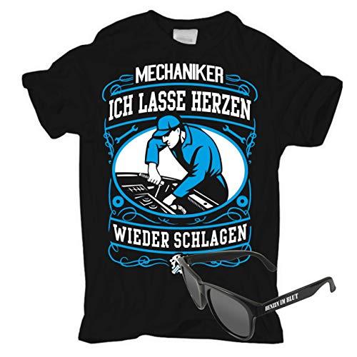 Männer und Herren T-Shirt KFZ Mechaniker + Sonnenbrille schwarz Motorrad Auto Benzin im Blut Größe S - 5XL