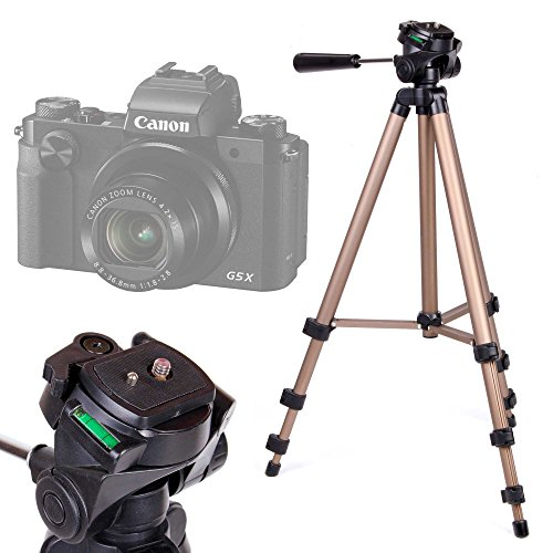 DURAGADGET Trípode Profesional para Cámara Sony DSC-H300 / Sony DSC-H400 / Canon Powershot G5 X - con Nivel De Burbuja