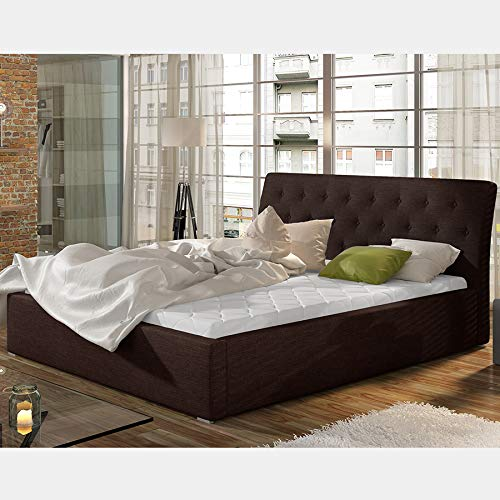 Milas Adult Bed 140 x 200 cm Brown Fabric