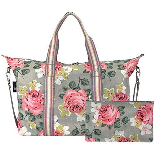 Hibala Canvas Beach bag Travel bag,Weekender Carry On for Women,Sports Gym Bag,Workout Duffel Bag,Overnight Shoulder Bag (Rose, Large)