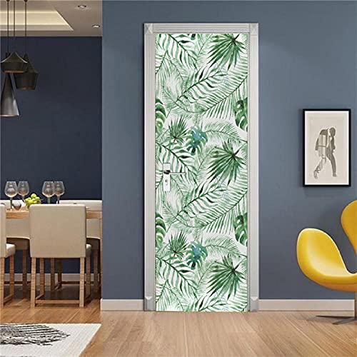 YQLKD Puerta Pegatina Pared Murales Papel Tapiz Autoadhesivo para Puerta con Hojas De Plantas Verdes, Mural De Póster para El Hogar De PVC