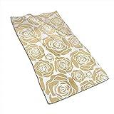 EXking Viele goldene Blumen Bedrucken Handtücher Extra große Handtücher Schnelltrocknende Handtücher für das Gesicht, leicht