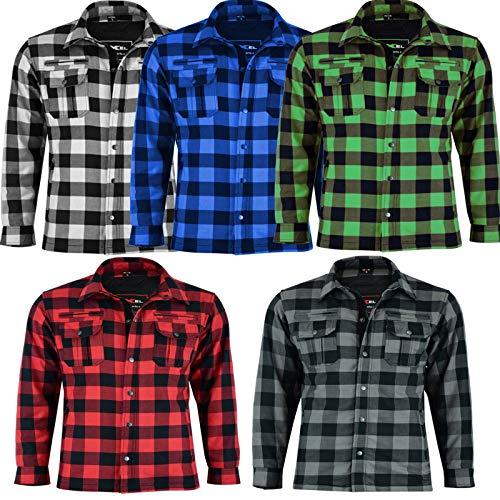 VASTER Holzfäller verstärkte Motorrad Motorrad Check Shirt CE gepanzerte Shirt für Männer Jungen abnehmbare Schutz 4-Farb (Weiß und Schwarz, 6XL)