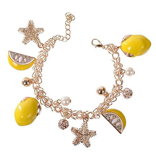 yqs Pulsera de estrella de mar colgante de limón fruta para mujeres niñas aniversario playa verano accesorios de mano