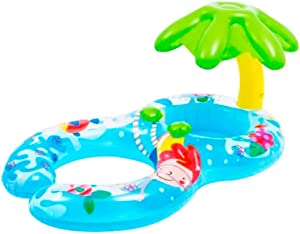 Piadzer Baby Swimming Float Inflatable Baby Pool Float Ring Newest with Sun Protection Palm Tree