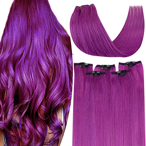 Hetto Extension a Clip Cheveux Lisse Naturel Violets 16 Pouces Remy Extension de Cheveux Humains 5 Pièces Extension Cheveux Femme Clip Tete Plenie 30g par Paquet