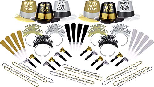 New Year's Eve Party Supplies/Favors Set for 12 People (12 Person Set)