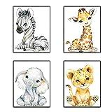 SUNSK Cuadros Infantile Animales Cuadros Decorativos Dormitorio Cuadros Decoracion Salon Decorativas para Pared Arte Mural 4 Piezas
