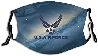 Air Force Logo Outdoor Mask,Protective 2-Layer Activated Carbon Filters Adult Men Women Bandana-Black-1 PCS made in USA