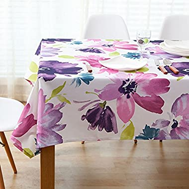 Comfy Home Vintage Floral Printed Dining Tablecloth Washable Table Cover For Dining Room, 52x52 Inch