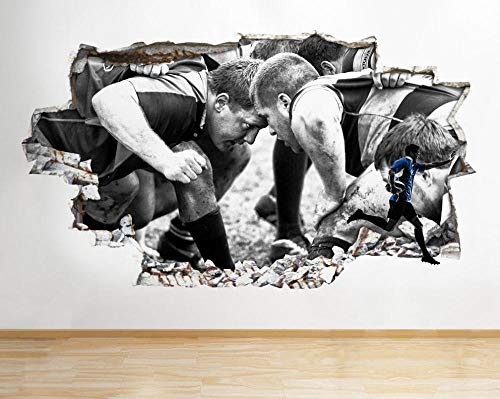 Wandtattoos-3D-Rugby Sport Kit Smashed Spieler Vinyl Kinderzimmer Aufkleber-50x70cm