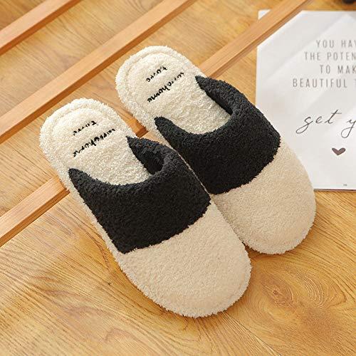 XZDNYDHGX Zapatillas casa para Unisexo Antideslizante,Zapatos de Mujer más Zapatillas de Interior de Lana de Empalme, Zapatos de casa de Pareja de Hombres de Fondo Suave Antideslizante-Beige EU 37-38