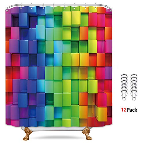 Riyidecor Rainbow Geometric Plaid Shower Curtain 72x78 Inch Metal Hooks 12 Pack Neon Rainbow Colored Blue Green Red Purple Decor Fabric Bathroom Set Polyester Waterproof Fabric