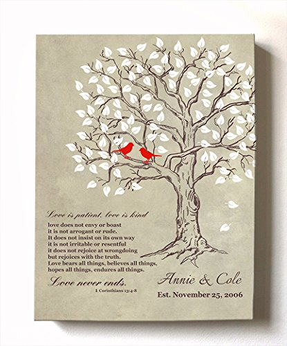 MuralMax Personalized Anniversary Family Tree Artwork - Love is Patient Love is Kind Bible Verse - Unique Wedding & Housewarming Canvas Wall Decor Gifts - Color Beige # 1 Size 16 x 20