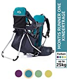 Montis Runner One Kindertragerucksack bis 25kg Gewicht - die Einstiegs Kraxe/Kindertrage für beide Elternteile - erweiterbar durch Regenschutz, Fußrasten & Wickelmatte, TÜRKIS