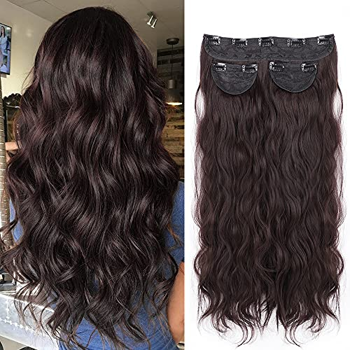LNERATO Hair Extensions Wavy Dark Brown Clip in Synthetic Hair Extensions Hairpieces for Women 20 inches Full Head 3pcs 260g (Dark Brown)