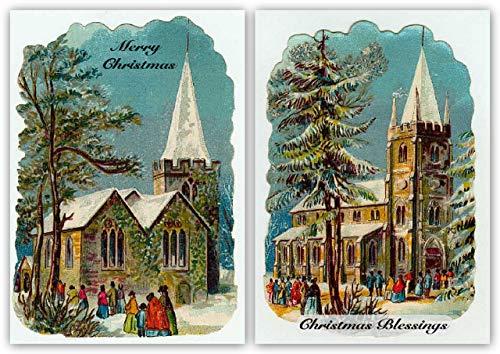 Pack de 10 tarjetas de Navidad vintage religiosa de Reproducción Retro. Iglesia .Diseños