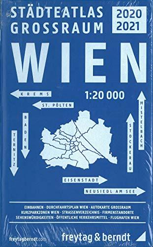 Wien Großraum Städteatlas 2020/21, Stadtplan 1:20.000 (freytag & berndt Stadtpläne)