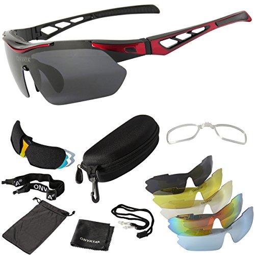 ONVAYA® Polarisierte UV400 Sportsonnenbrille 9 Teilig rot | Sportbrille mit Wechselgläsern | Radbrille | Sonnenbrille | Bikerbrille | Fahrradsonnenbrille One Size
