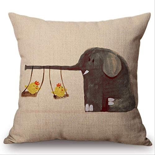 QIANGST Kussensloop voor schattige dieren, abstract schilderen, cartoon of kat, olifant beer, decoratie voor de auto, bank, decoratief kussen