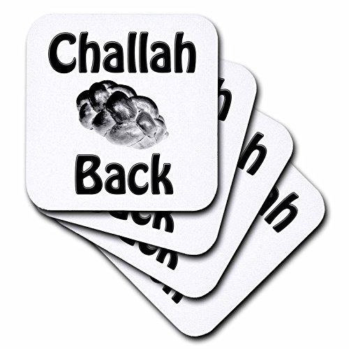 3dRose CST_128174_1 Challah Back Jüdisches Brot Challah Brot, weiche Untersetzer, 4er-Set