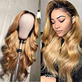 Ombre Wig Human Hair Pre Plucked With Baby Hair 4X4 Lace Front Wig 130% Density With Baby Hair Two Tone Wig For Women Ombre 1B/27 Lace Wig Brazilian Body Wave Remy Virgin Human Hair 9A Grade 20 Inch