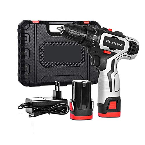 UWY Professional 18V Cordless Drill,Electric Screwdriver,with 2Pcs Li-Ion Battery,2 Speed,25 + 1 Torque Setting with LED,2pcs Battery