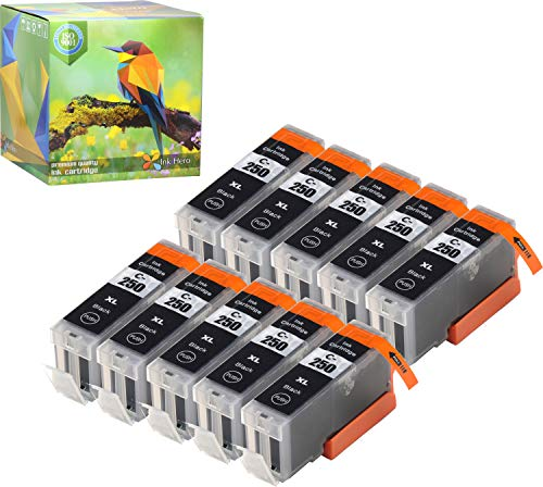 Ink Hero Compatible Ink Cartridge Replacement for Canon CLI-251, PGI-250, PGI-250XL, CLI-251XL (Pigment Black, 10-Pack)