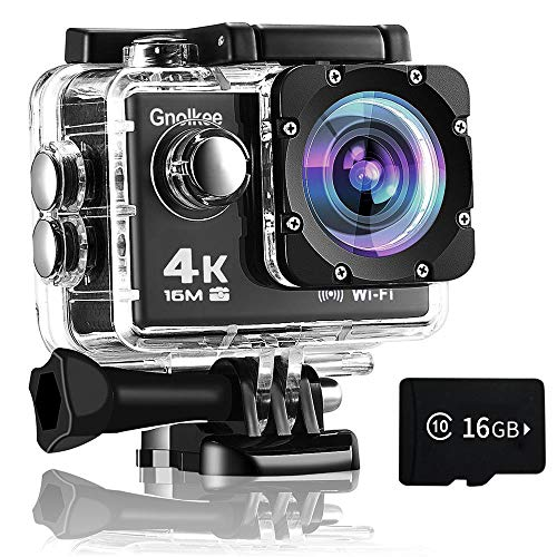 Gnolkee WiFi Action Camera, 4K 16MP Underwater Video Camera 170 Wide Angle Sports Camera with Remote, 2 Batteries, 16GB TF Card, 24 Accessories Mounting Kit【2020Upgrade】