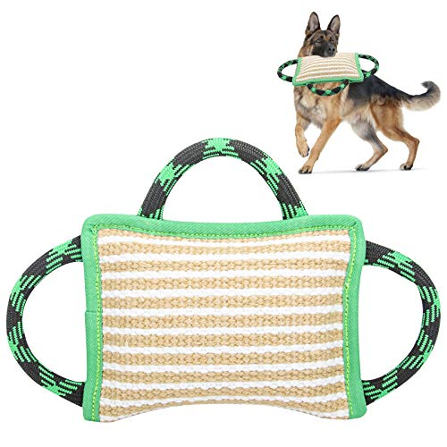 Dog Training Bite Pillow Linen Green Tug Toy with 3 Durable Handles, Tough Tug Toy for Medium to Large Dogs Interactive Playing, Ideal for Tug of War, K9, IPO, Puppy Training( 11 Inch × 7.8 Inch)