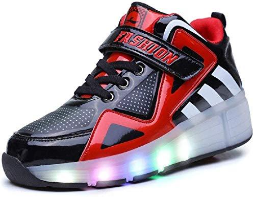 AG 7 Farben, die verbesserte LED-Streifen-Rad-Roller Skate Schuhe Retractable Technische Skateroller Sport,Reda,38