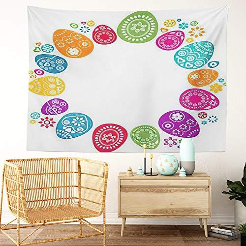 Y·JIANG Tapiz de cesta de Pascua, bonito color de huevos de Pascua para el hogar, decoración de dormitorio grande, manta ancha para colgar en la pared para sala de estar, dormitorio, 152 x 127 cm