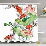 N\A Cortina de Ducha Ahawoso con Ganchos Invitación de Flor China Acuarela Pez Carpa Koi Belleza orgánica Flor Animales Fauna Japón Tela de poliéster Impermeable Decoración de baño para baño