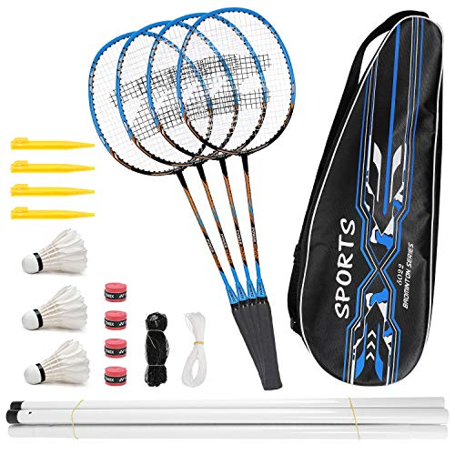 Fostoy Badminton Racquets,Lightweight Carbon Fiber Badminton Rackets Set for Adult and Children, Including 4 Rackets, 3 Shuttlecocks, 4 Overgrip and Carry Bag (Blue)