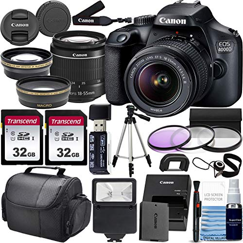 Canon EOS 4000D w/ 18-55mm F/3.5-5.6 III Lens Zoom Lens & Professional Accessory Bundle W/ 2X 32GB Memory Cards + Case & Wide Angle & Telephoto Lens + More!