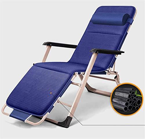 Silla De Gravedad Cero Patio Lounge Sillones Reclinables Plegable Ajustable para Terraza, Patio, Playa, Patio, Etc,Azul