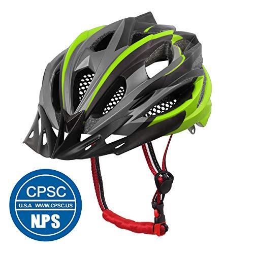 X-TIGER Bicicleta Casco Adulto Unisexo con Certificado CE,Visera y Forro Desmontable Especializado para Ciclismo de Montaña (Verde)