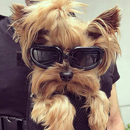 PETLESO Hunde Sonnenbrille Hundebrille Wasserdichter UV-Sonnenbrillen für Kleine Hunde/Katzen - Schwarz