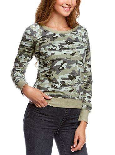 oodji Ultra Mujer Sudadera con Estampado de Camuflaje, Verde, ES 36 / XS