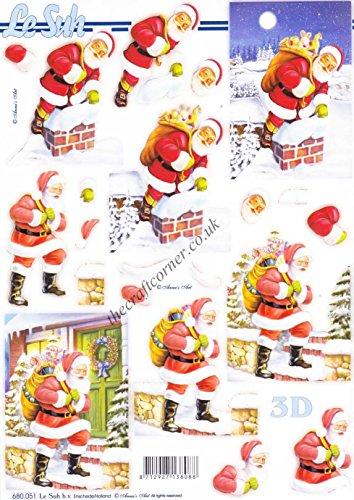 Father Christmas Delivering Parcels 3d Die Cut Decoupage