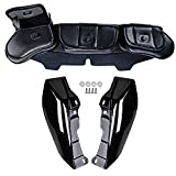 1 Pair Glossy Black Mid-Frame Air Deflector + Black Three-Pocket Fairing Pouch Windshield Bags For 2009-2013 Harley Road King Street Electra Tri Glide