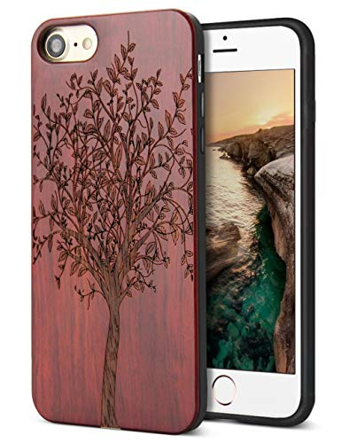 Compatible for Wood iPhone 8 Case, Real Wood Engraving Tree Soft Rubber Cushion Shock Absorption Flexible Anti-Scratch Bumper Protective for iPhone 7/8 iPhone SE 2020 Case