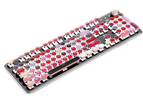 CORN K520 Lippenstift-Tastatur, mechanisch, Metall-Panel, rund, Retro, Hintergrundbeleuchtung, 104 Tasten, USB-Kabel, blauer Schalter für Desktop, Laptop