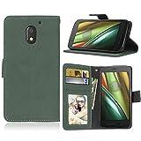 Funda Motorola Moto E3 (3rd Gen),Bookstyle 3 Card Slot PU Cuero Cartera para TPU Silicone Case Cover(Verde)
