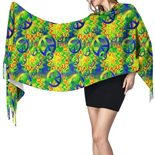 Bufanda grande para mujer, diseño de arco iris, con signos de paz, suave sensación de cachemira, chales de pashmina