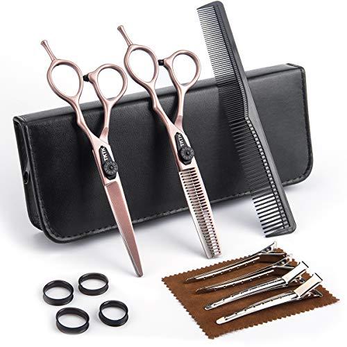 Hair Scissors, TKTK Hair Cutting Scissors Rose Gold 6.7 Inch Barber Scissors Thinning Shears Professional Hair Shears Kit Japanese Stainless Steel With Fine Adjustment Tension Screw