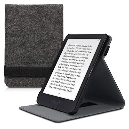 kwmobile Hülle kompatibel mit Tolino Shine 3 - Schlaufe Ständer - e-Reader Schutzhülle - Filz Dunkelgrau