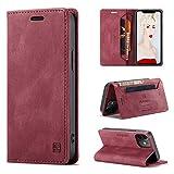 CaseNN Cover per iPhone 12 / iPhone 12 Pro 6,1'' Custodia Pelle Premium con Porta Carte Fe Portafoglio Magnetica Flip Wallet Case per Donne Uomini Libro Silicone con RFID Blocking - Vino Rosso